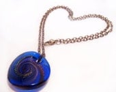 VINTAGE Blue Glass Necklace, Magic Swirl Glitter Pendant Necklace,Blue Glitter Pendant, Glitter Glass Pendant, Gift Ideas, Best Gift For Her