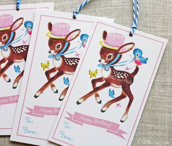 12 Vintage Style Birthday Deer Gift Tags- Retro Deer Party Tags