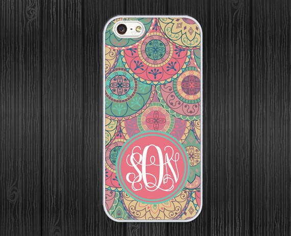iphone 5 Case - Monogram iphone5 Case - hard plastic or silicone rubber - abstract indian pattern