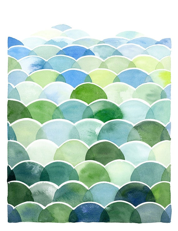 Handmade Watercolor Abstract Blue and Green Field and Sky Painting- 8x10 Wall Art Watercolor Print