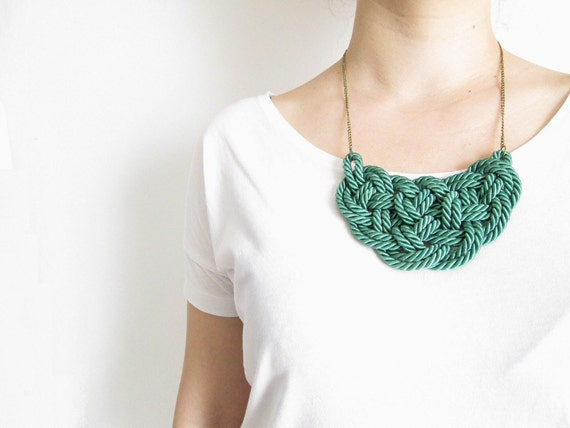 Green Rope necklace Green statement necklace