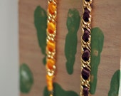 Very simple & unique chain and ribbon bracelet - Colors : orange, green, coral, brown, etc.