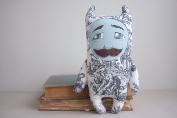 Handmade toile monster plush art doll with handlebar mustache and valentines here