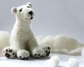 Needle felted polar bear, Felt Animal Natural, children toy, Made to order - AndreaFelting