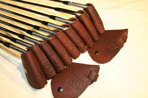 ClubShields Real Leather Brown Golf Iron Head Covers  ( 8.50 each cover ) (FREE INITIALS)