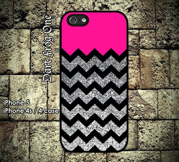 Glitter Print (Not Actual Glitter) Chevron Deep Pink iPhone 5 case, iPhone 4s / 4 case hard plastic or silicon rubber