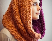 Oversized Knitted Cowl, Two Toned Purple and Orange Cowl, Cozy Scarf, Chunky Infinity Scarf, Winter Wear - EmbraceTheLamb