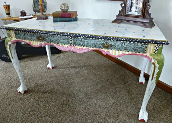 Painted Furniture - Desk - Hand Painted - Whimsical.