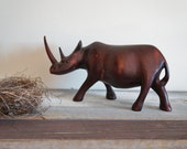 Vintage Hand Carved Wood Rhino Great Detail African Victorian Style