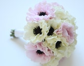 Silk Anemone Wedding Bouquet - Anemone Bridal Bouquet in Pink and White OR Cream White ONLY - Anemone Bouquet & Boutonniere Set