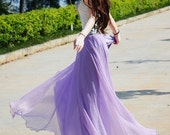 women's lavender purple silk Chiffon 8 meters of skirt circumference long dress maxi skirt maxi dress   XS-L