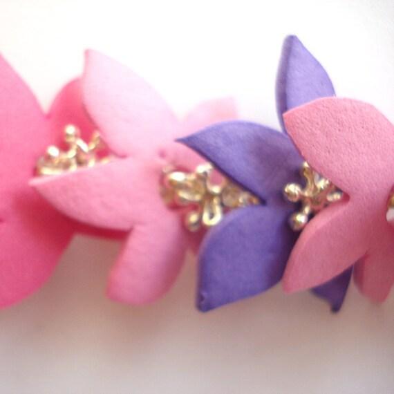 Braccialetto Flower Explosion  - Moosgummi colorato e catena argentata - Creato a mano