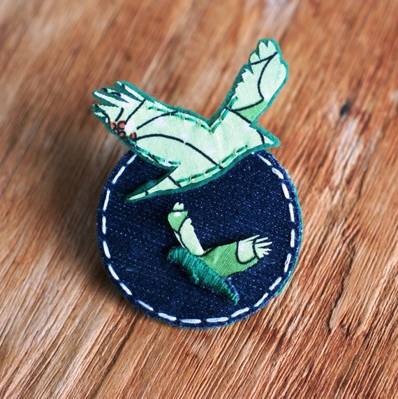 Fabric Bird Brooch felt and denim in green unique gifts fabric pin scarf pin badge
