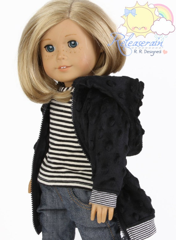 "Releaserain Doll Clothes Outfit Black Raised Dots Faux Fur Long Hoodie Zip Up Jacket Coat for 18"" American Girl dolls"