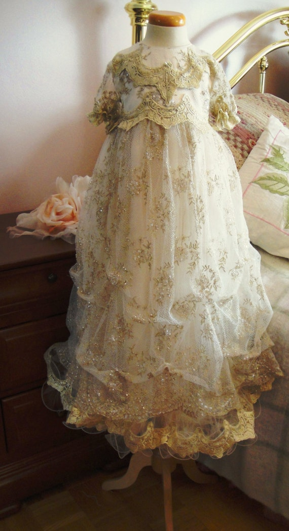 Baby Girl Christening Dress In Beaded Lace By