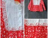 vintage 70s // her majesty // large collar floral print  // kiddos top  // size