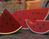 Country Watermelons Pieces, set of 3 Handpainted Pine