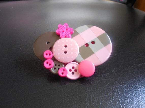 Pink & Brown Button Brooch