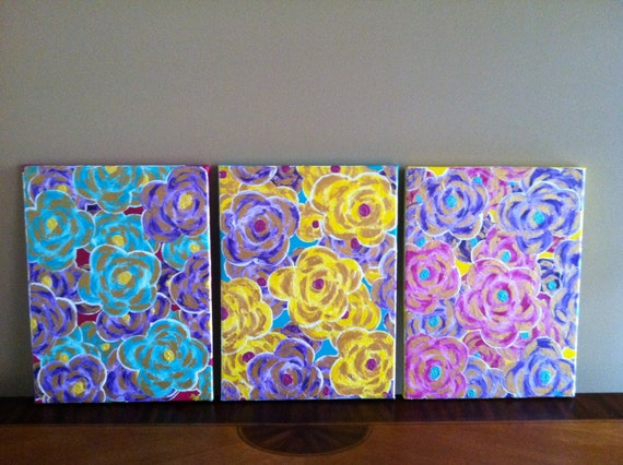 Yellow, Teal, Purple, Pink and Gold Flower Original Painting (Set)