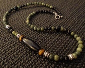 Confidence - FTM Collection, Mens Garnet & Onyx Necklace, Mens Jewelry, Mens Gemstone Necklace