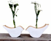 Bird tube vase wood white birds  - set of 2 - KatDeco