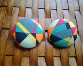 Extra Large Button Earrings-Kaleidoscope