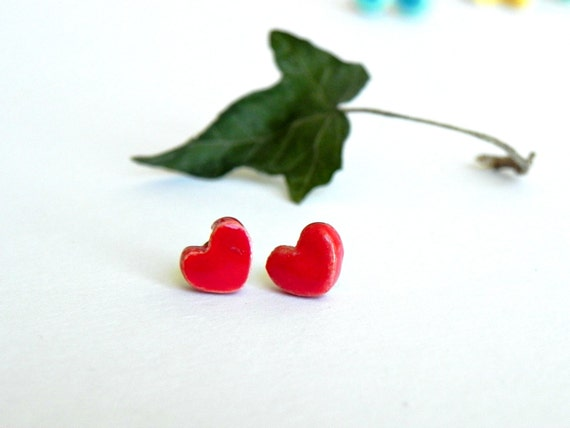 Red Heart Ceramic Tiny Earrings Stud Minimalist Modern Everyday Post Surgical Stainless Steel