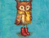 Nursery Art, Children's Art- Owl's Big Red Boots: 5x7 print (matted to fit 8x10 frame) - JennyDaleDesigns