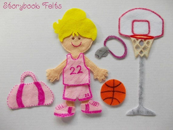 Storybook Felts Felt My Little Basketball Star Girl Doll Dress Up Set  10 PCS