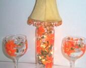 Wine Bottle Lamp Hand Painted Orange Flowers w/Shade Wine Glasses Upcycled Interior Design Night Light Lighted Bottle Lamp Set