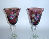 Hand Painted Wine Water Glasses Bubble Glass Dark Blue Silver Flowers Upcycled Wedding Bridal Shower Home Bar Decor Interior Design