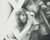 Charcoal drawing of Jesus carrying the cross