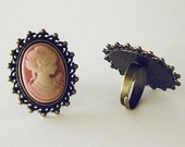 Pink Victorian Lady Antique Bronze Adjustable Ring - pajewelry