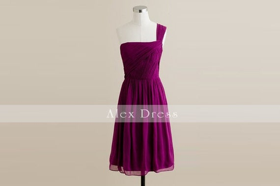 Purple One Shoulder Chiffon Bridesmaid Dress Short-Custom Dress