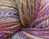 Hand Dyed Hand Spun Yarn Green, Pink, Purple 100% Wool, Sport Weight