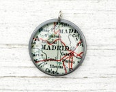 Madrid Spain - Vintage Map Pendant in Handmade Sterling Setting - AnneHolman
