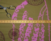 Fabric by the Yard deep olive green cotton, silk screened yardage in pearled pink bell flowers and maroon red compass rose pattern