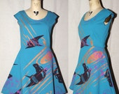 Turquoise Cotton Jersey Spring Dress with red horse, metallic wood grain, and pink sterculia screenprint