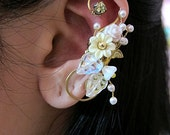 White Wrap Around Flowers And Bird Ear Cuff Woodland Gold Wings Free Elegant Feminine Bling Nature