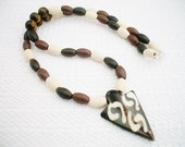 Men's Tribal Necklace Wood and Tiger Eye Beads