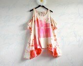 Coral Tie Dye Top 3X Plus Size Clothing Pink Long Tunic Cut Out Shoulders Summer Wear Bohemian Shirt Wearable Art 'BRYNN' - BrokenGhostClothing