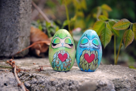 Mixed Media Owl Egg by artist A.Blake Paintingbliss