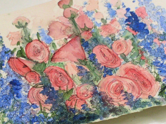 Nature Art Garden Cottage Pink Hollyhocks Blue Larkspur Original Painting by Laurie Rohner
