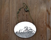 Large Mountain Necklace in Pink and Graphite - Hand Painted Mountain Artwork Pendant