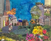 Flowers in The City   ORIGINAL COLLAGE on wood