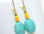 Turquoise and Yellow Gold Oval Earrings. Clearance Sale.