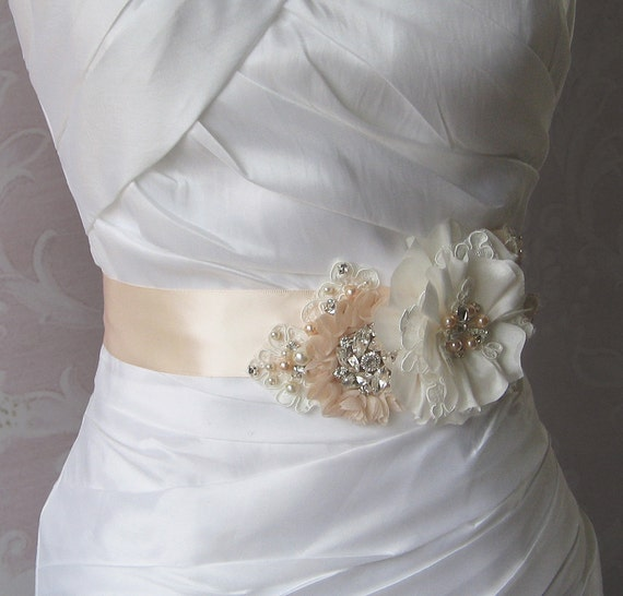 Pale Peach Sash, Peach Blush Bridal Sash, Wedding Belt, Rhinestone and Pearl Bridal Sash - QUINN