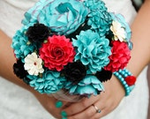 FEATURE ON Offbeat Bride - Teal, Red and Black Rock and Roll Inspired Handmade Paper Flower Wedding Bouquet - Custom Colors - DragonflyExpression