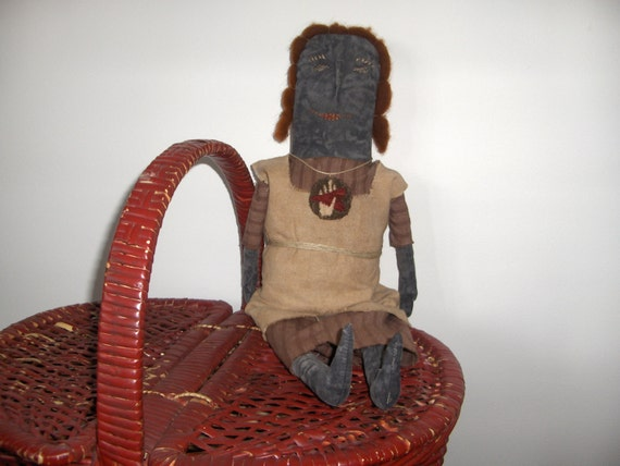 Primitive simple black doll TFC Folkart Matilda osnaburg