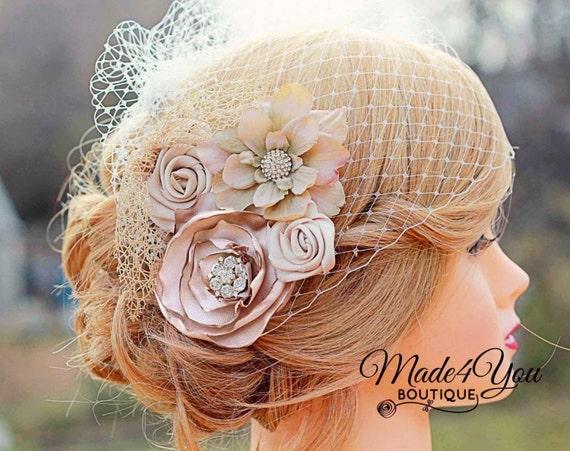 Champagne Birdcage Veil-Gold and Champagne Bridal Fascinator-Wedding Headpiece-Plum and Red Also Available